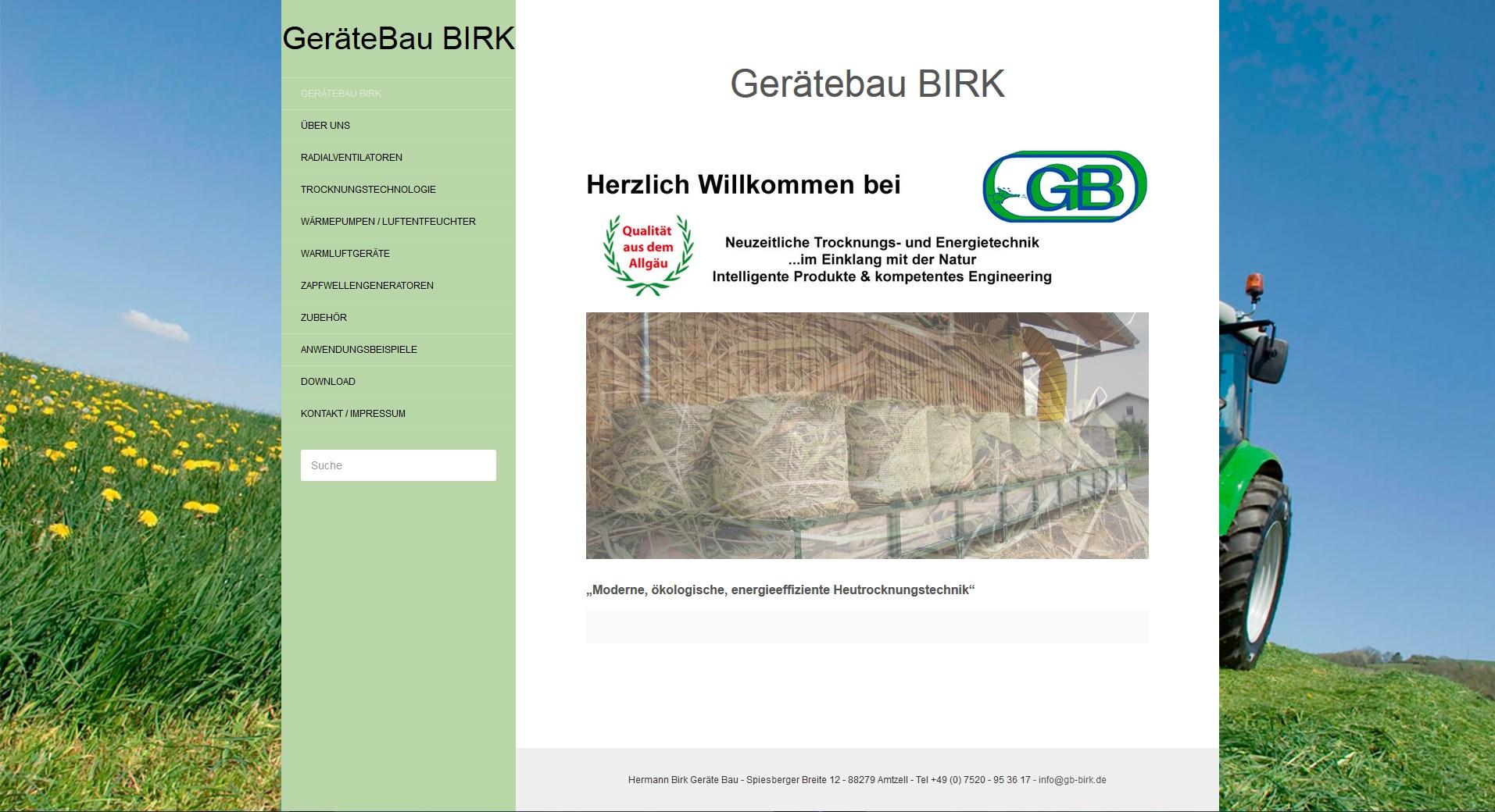 Responsive Homepage Gerätebau Birk